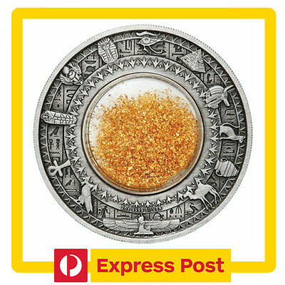 2019 Golden Treasures of Ancient Egypt 2oz .9999 Silver Antiqued Coin - PM