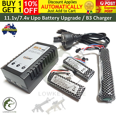 11.1v/7.4v Lipo Battery Upgrade B3 Charger Gel Blaster Gen8 9 10 M4A1 ACR Vector