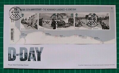 2019 75th Anniversary D-Day Barcode M/S on FDC Overlord Portsmouth pmk