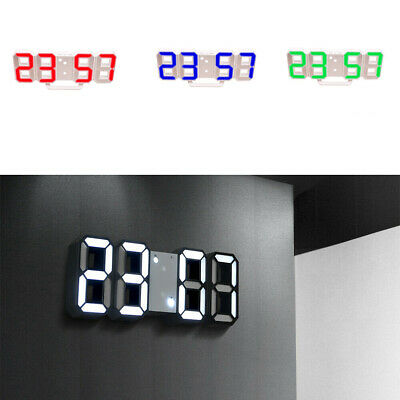 Digital 3D LED Alarma Reloj dormitar 12/24H Monitor Decoración USB Reloje Pared