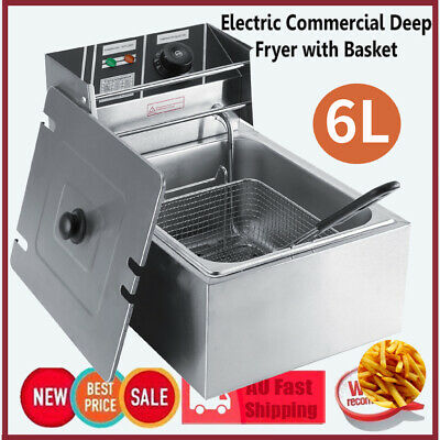 Commercial Deep Fryer Electric Basket Benchtop Cooker 6L Stainless Steel 2500W