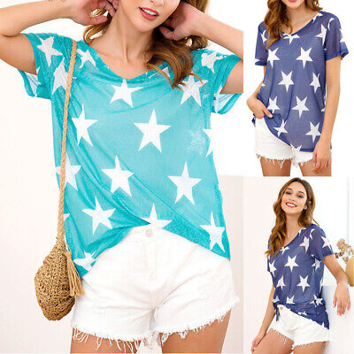 Womens V Neck Star Print T-Shirt Ladies Summer Casual Cosy Tops Blouse Size 6-16