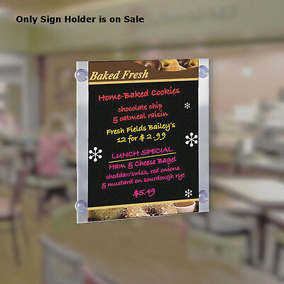 Acrylic Clear Sign Holder 11W x 17H Inches with Suction Cups- Pack of 2