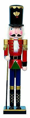 LARGE Traditional Wooden CHRISTMAS NUTCRACKER SOLDIER with Rifle Decoration 60cm