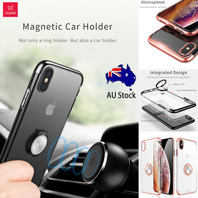 For iPhone XS Max XR X Hard Clear Case Bumper Magnetic Ring Holder Stand Cover