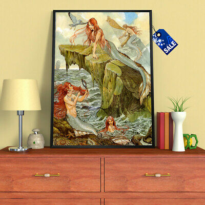 Oil Painting Art HD Print Office Decor Siren Mythology Kids on The Canvas 16x20