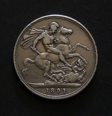 English 1891 Crown Nice old Silver Coin.Free Registered Post.