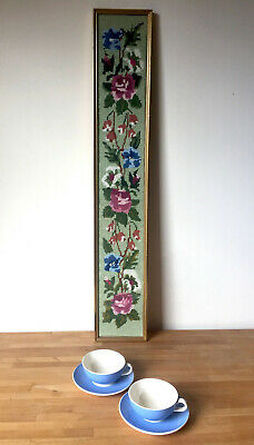 Long Floral Needlepoint Embroidery Tapestry climbing flowers glazed gilt frame