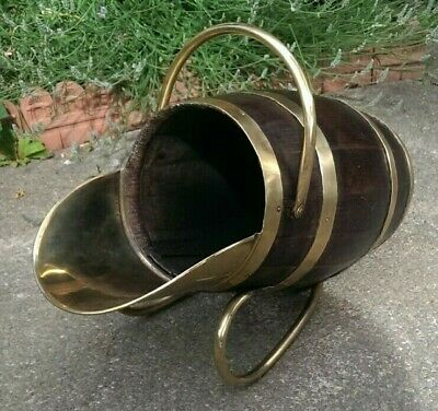 Rare Antique Brass Bound Oak Barrel Shaped Victorian Scuttle