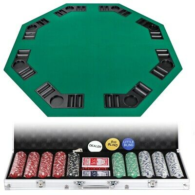 8 Players Poker Table Top w/Bag+500 Chips Poker Dice Chip Set W/Aluminum Case