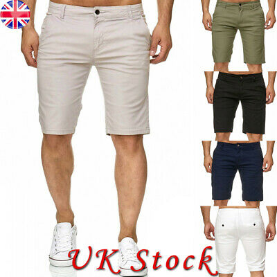 Mens Summer Cotton Casual Half Chino Shorts Stretch Slim Fit Short Pant Trousers