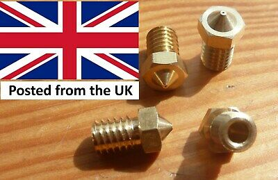 V6 Brass 3D Printer Extruder Nozzle (4 Pack) 0.4mm, 3mm filament < PLEASE NOTE<<