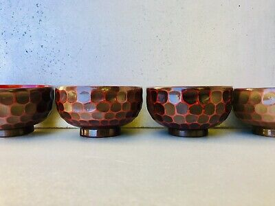 Set of 4 Japanese Lacquer Soup/Rice Bowls Made In Japan Purchased In Tokyo.