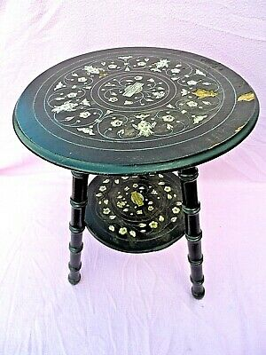 """Antique Oriental? 2 Tier Gypsy Table Inlaid With Masks & Flowers 21 1/2"""" Tall"""
