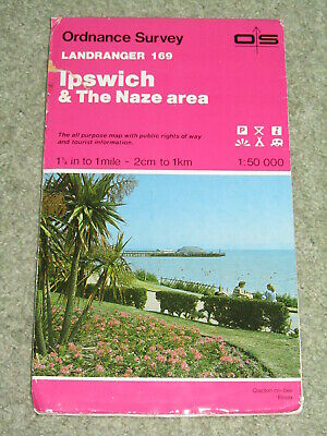 OS Ordnance Survey Landranger Map Sheet 169 Ipswich & The Naze area