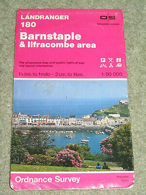 OS Ordnance Survey Landranger Map Sheet 180 Barnstaple & Ilfracombe area