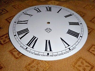 For American Clocks-Ansonia Paper Clock Dial - 125mm M/T-GLOSS WH- Parts/Spares
