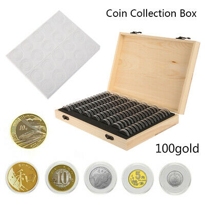 UK- Wooden Coins Display Storage Box Case for Collectible Coin With 50 Capsules