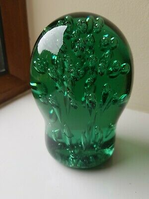 Antique Victorian English Green Glass Bubble Dump Doorstop Paperweight