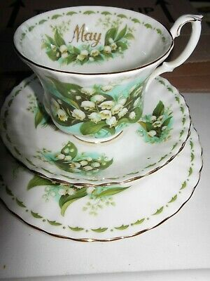 Royal Albert ' Flower Of The Month  ' Tennis Set -  May Lily Of The Valley  Trio