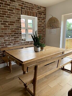 Large Farmhouse Dining Table With 2 Benches Incl Drawers With Ceramic Knobs