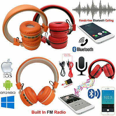 Wireless Bluetooth Stereo Headset Headphones Handsfree Mic For iPhone Android