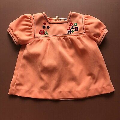 70s Vintage Baby Floral French / Orange / Retro Dress 0-6 M