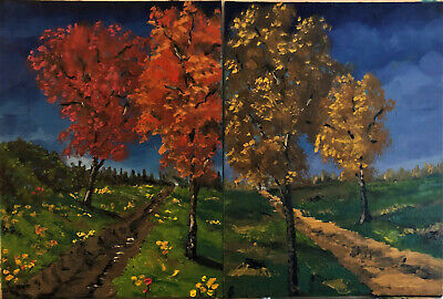 Two Paths 6x8 inch Abstract Oil Paintings by Newfoundland Canadian Native Artist