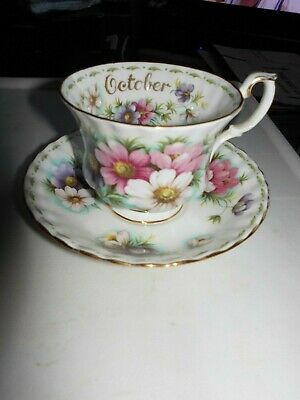 """Royal Albert ' Flower Of The Month """"October  Cosmos   Cup & Saucer Only"""