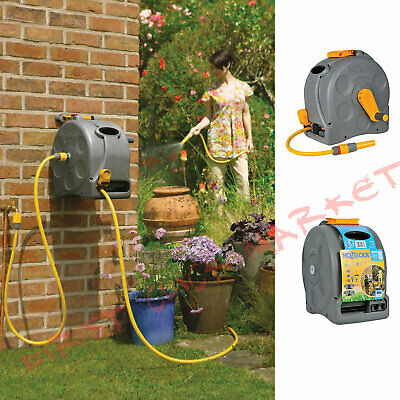 Hose Reel Compact Enclosed Free Standing Or Wall Mounted Garden Use 25m Car Wash
