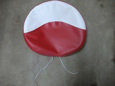 """FARMALL TRACTOR TIE PAN SEAT COVER (Red & White) New Made in USA 21"""" W/ 2"""" FOAM"""