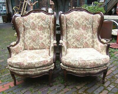 French Louis Xv Style Carved Oak Pair Of Armchairs - (Cobacx)