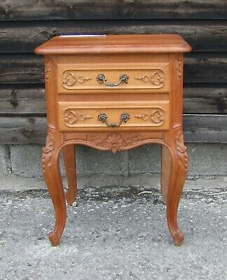 Louis Xv Style Vintage French Carved Oak Single Bedside Cabinet - (Conbc47)