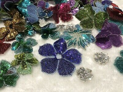 20pcs Mixed Flowers With Sew On Sequins Venise Lace Embroidery Applique Motif