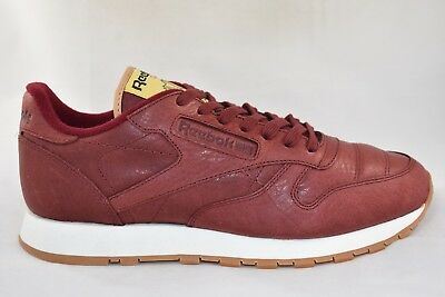 Mens Reebok Classic Leather Boxing Burgundy Trainers RRP. £69.99 (TGF12)