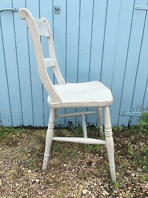 Antique Vintage Painted Kitchen Chair Grey Distressed Shabby Chic Windsor