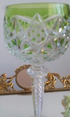 Beautiful Saint Louis Green Cut To Clear Wine Glass With Twisted Stem /Antique