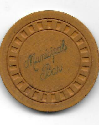 Obsolete Illegal Casino Chip From MUNICIPAL BAR-Jeffersoville, In.-CG047393-1936