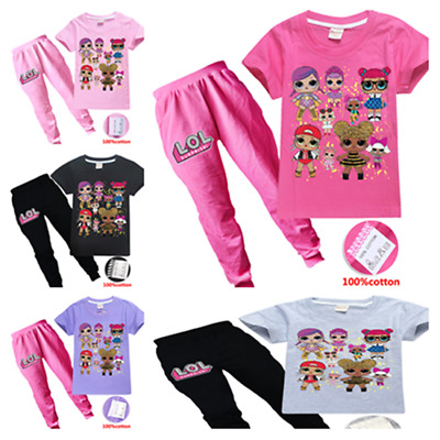 Lol Surprise Dolls Kids Girls T-shirts Cosplay Short Sleeve Top + Trousers Sets