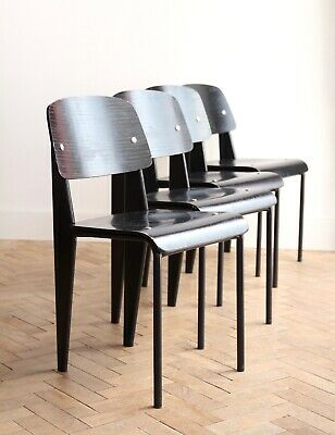 Set of 4 Vintage Jean Prouve Style Black Dining Chairs Mid Century