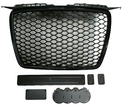 Black honeycomb mesh car grill compatible with Audi A3 8P2 2005-2007 grille RS