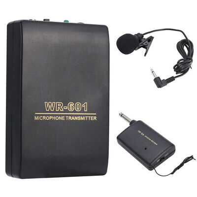 Lavalier Lapel Wireless Microphone Clip Mic System FM Transmitter Receiver