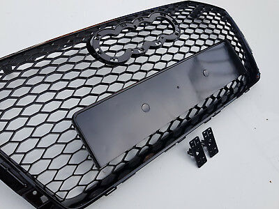 RS4 style gloss black honeycomb mesh car grill for Audi A4 B9 8W S4 2016+