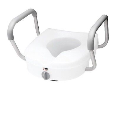 Raised Toilet Seat Elevated Locking With Armrests Carex 300lbs Standard NEW