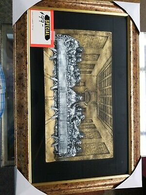 """Antique Gold Framed 3D Metal Relief Jesus The Last Supper 29""""x 18"""" x 3"""""""
