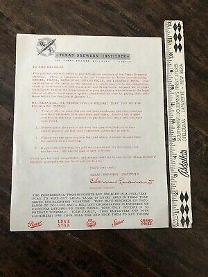 Rare 1950's Texas Beer Advertising Grand Prize Shiner Pearl Lone Star Poll Tax