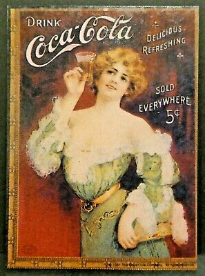 "Dollhouse Miniatures Metal Sign Advertising Coke Lady COCA COLA 2 1/4"" x 3 1/8"""