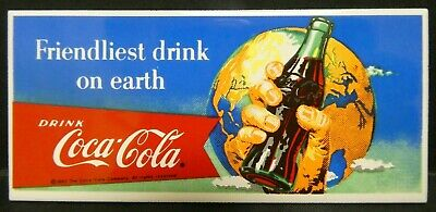 "Dollhouse Miniatures Metal Sign Advertising Coke Earth COCA COLA 3 1/8"" x 1 1/2"""