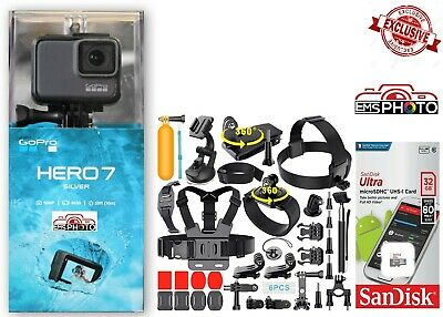 GoPro HERO7 SILVER Waterproof camera with 40 Sports Accessories CHDHC-601 32GB