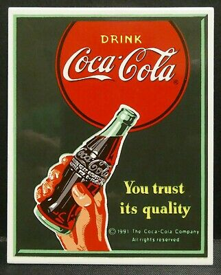 "Dollhouse Miniatures Metal Sign Advertising Coke Trust COCA COLA 2"" x 2 1/2"""